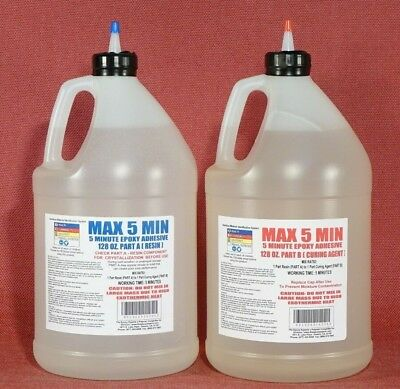 5 MINUTE GLUE EPOXY ADHESIVE FAST SET TIME VERY STRONG TOUGH LOW COST BULK 2ga*