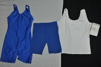 New Bal togs child  small Dancewear lot,royal blue biketard, white top ,shorts