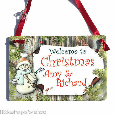 Welcome to Christmas with Couples Personalised Snowman Plaque Sign Gift Xmas