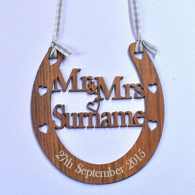 Personalised Mr and Mrs Wedding Horseshoe Wooden Anniversary Rustic Bridal Gift