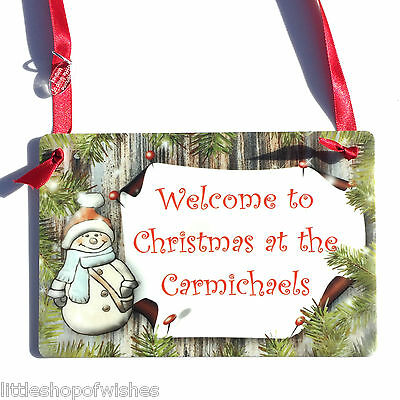 Welcome to Christmas at - Personalised Family Snowman Plaque Sign Gift Xmas