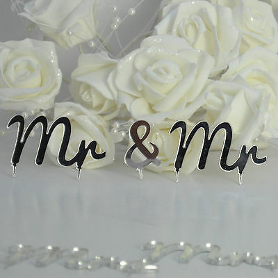 Mr and Mr Same Sex Civil Partnership Cake Topper - 3 piece set - mirror Acrylic