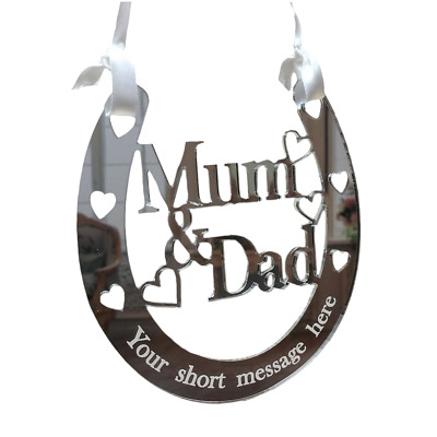 Personalised Anniversary Gift Mum and Dad Good Luck Horseshoe Bridal Wedding