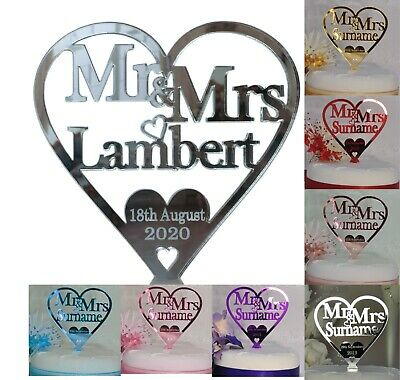 Personalised Mr & Mrs Wedding Cake Topper Heart Decorations Mirror Acrylic Gift