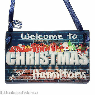 Christmas Family Personalised Wall Plaque Welcome Door Sign Gift Xmas Keepsake