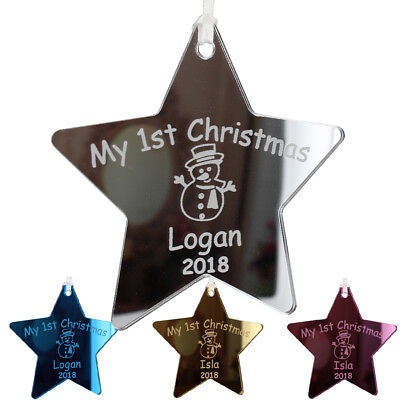 Babies First Christmas Personalised Bauble My 1st Decoration Star Baby Gifts