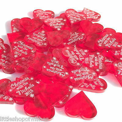 50 Personalised Christmas Love Hearts Table Confetti Decorations Centerpieces