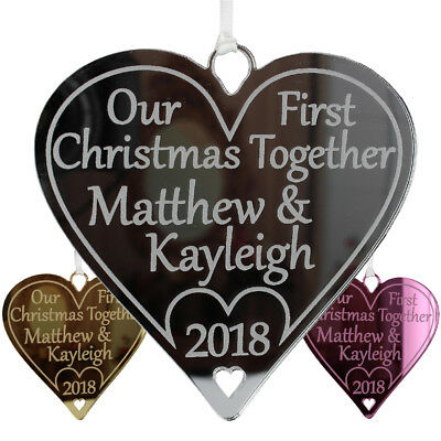 Couples First Christmas Together Personalised 1st Decoration Bauble Heart Gift