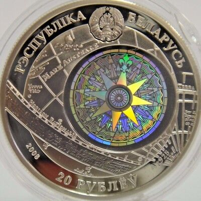 2008 20 Roubles Republic of Belarus .925 Silver Coin Sedov Sailing Ships COA