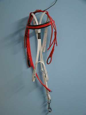 Trotting Bridle and Headcheck - PVC - Red / Black