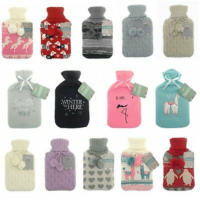 Large 2L Litre Hot Water Bottle With Knitted Fleece Faux Fur Covers Many Designs