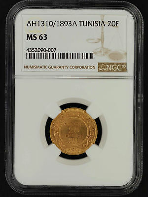AH1310/1893A Tunisia Gold 20 Francs NGC MS-63 -152744