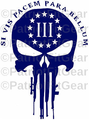 Si Vis Pacem Para Bellum,Punisher Skull,3%,Molon Labe,2A,Stickers,Vinyl decal