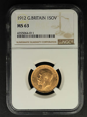 1912 Great Britain Gold Sovereign NGC MS-63 -160430