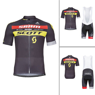 New Mens Cycling Short Sleeve Jersey Polyester Bib Shorts Suits Bicycle Uniform