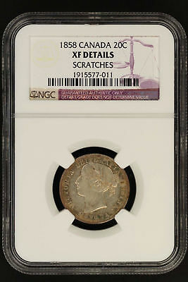 1858 Canada Silver Twenty Cent Piece NGC XF Details Scratches -136626
