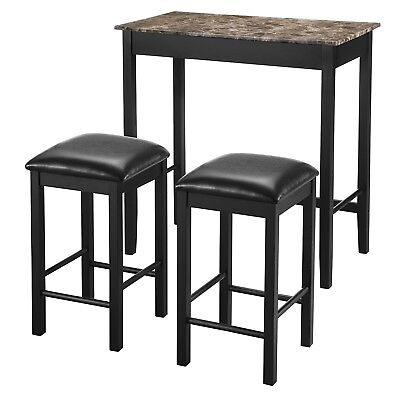 3 Piece Dining Pub Set Kitchen Counter Height Home Bar Leather Stools High  Table