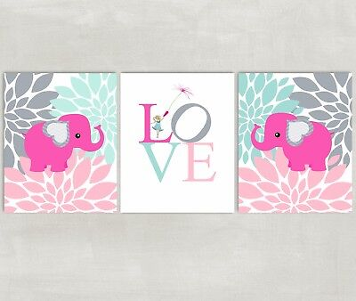 Elephant and Flowers Nursery Wall Art with Love - pink gray mint