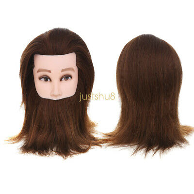 Mannequin Man With Beard Head +Clamp 100% Real Human Hair Hairdressing Training