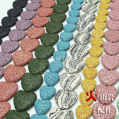 Wholesale 5Pcs Natural Volcanic Lava Flat Heart Spacer Loose Beads DIY Jewelry