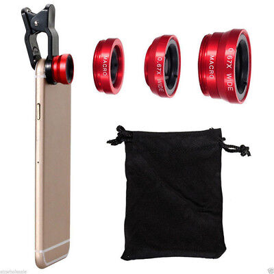 3in1 Clip On Fisheye Camera Lens + Wide Angle + Macro For Mobile Cell Phone Xmas
