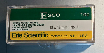 MICROSCOPE COVER GLASS SLIPS 18x18 made in US  - No1 thickness 100 slides 1oz