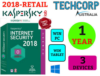NEW Kaspersky Internet Security Antivirus 2018 - 3 Devices Retail WINDOWS 1 Yr