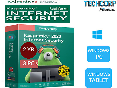 NEW Kaspersky Internet Security Antivirus 2019-3 PC Retail Windows 2 Year