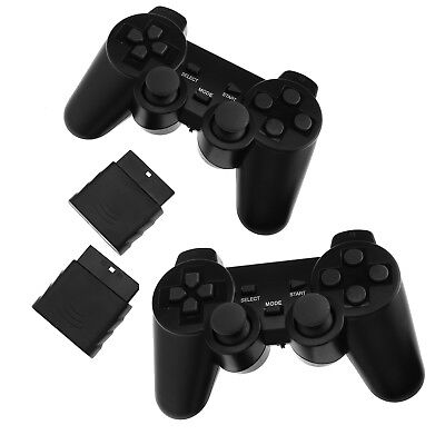 2 X Black Dual Shock Wireless Controller Joypad Gamepad For PS2 PlayStation 2