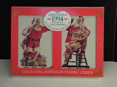 1994 Coca-Cola Santa Claus Christmas Playing Cards Limited Edition Double Deck