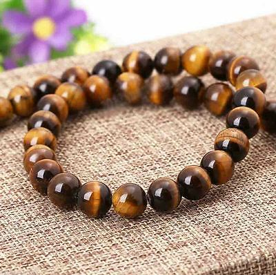 4/6/8/10MM Natural Tiger Eye Globose Gemstone Round Loose Spacer Beads HOT