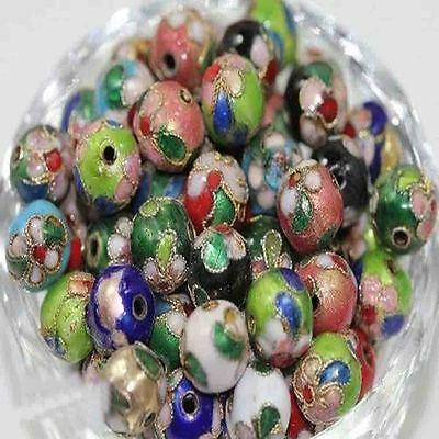 6/8/10/14MM 50Pcs Cloisonne Flower Pattern Craft Mixed Round Spacer Beads DIY