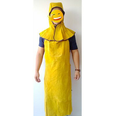 Welding Protection Suit Gold Welder Apron Mask Hat