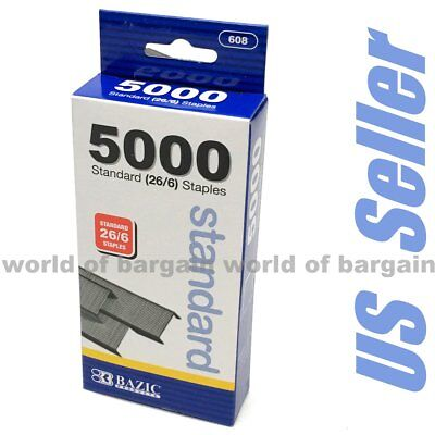 5000 Staples 26/6 Standard Stapler Chisel Point Wire Paper Binder 24 Strips C059