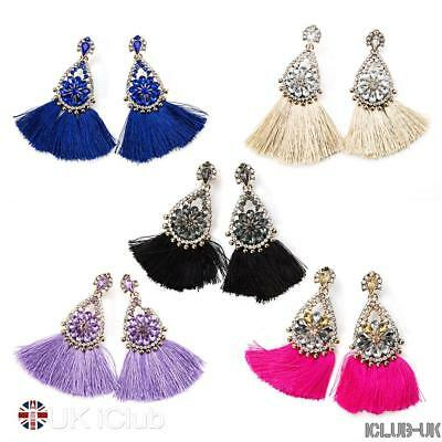 Tassel Drop Dangle Earrings Crystal Statement Vintage Elegant Long Rhinestone