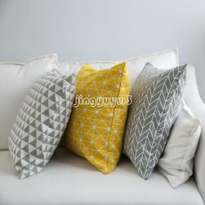 Cotton Square Geometric Triangle Cushion Cover Yellow Grey Bed Pillow Case Decor
