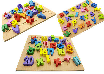 Wooden Alphabet Number Puzzle Colored ABC Board Preschool Educational Toys