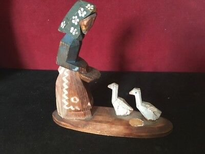 Old or Antique Folk Art Type Wooden Carving of Lady Feeding Two Chickens