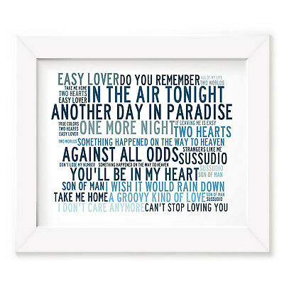 `Crystalline` PHIL COLLINS Art Print Typography Album Song Lyrics Signed Poster