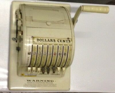 Vintage Paymaster WORKING Ribbon Writer Series 8000 Check Money Order With Key