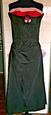 Vintage 1950s 50s Strapless Red Pink Taffeta Huge Bow Ballgown Formal Prom Dress