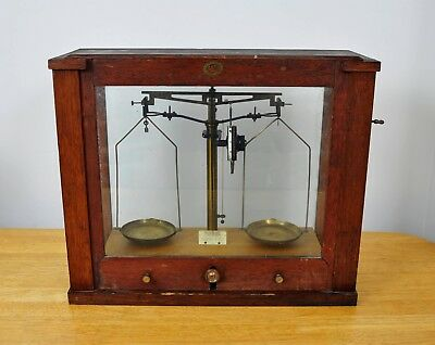 Antique c.1910 H.B SELBY Scientific / Pharmacy SCALES in Wooden Case