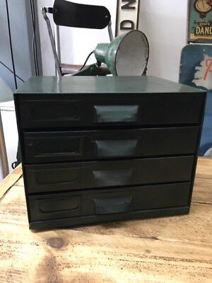 Vintage Industrial 4 Drawer Desk Top File Engineers Cabinet Storage