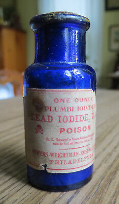 OLD LEAD IODIDE COBALT BLUE POISON BOTTLE with LABEL - Powers Weightman Rosengar