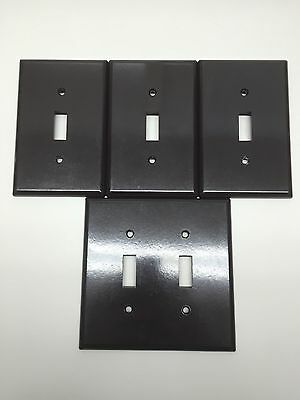 Vintage Bakelite Leviton Brown Smooth Light Switch Plate Cover Lot of 4 Double