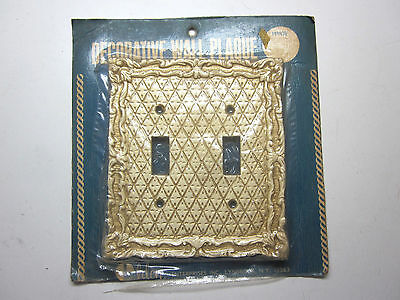 New Vintage Elden Tan/Gilt Diamond Pattern 2 Gang Bakelite Switch Plate Cover