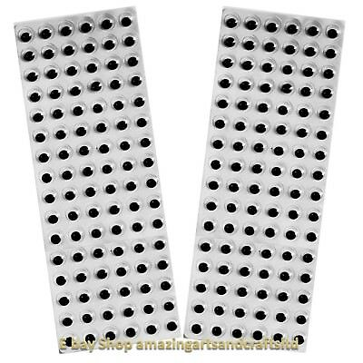 192 Self Adhesive wiggle googly sticky eyes on sheets 10mm