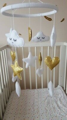 handmade felt gold and white Cloud glitter star and heart baby nursery mobile