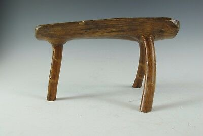 A Chinese Walnut single tree piece Wood 3 legged stool chair stand desk bench