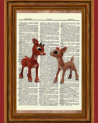 Ruldoph and Clarise Dictionary Art Print Poster Christmas Red Nosed Reindeer